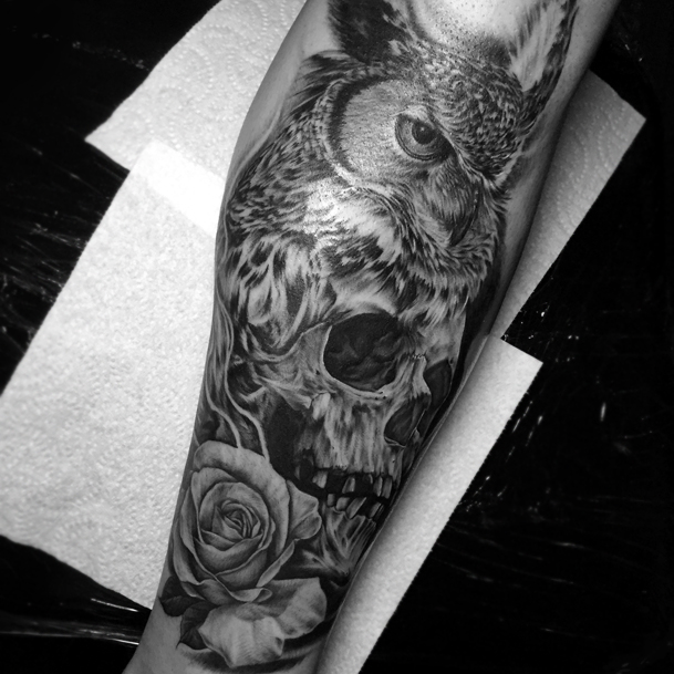 Tattoo Leg Man Rose Flower Black And White: Iva Chavez