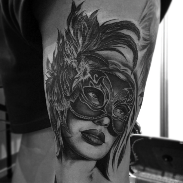 Tattoo Woman Face Mask: Iva Chavez