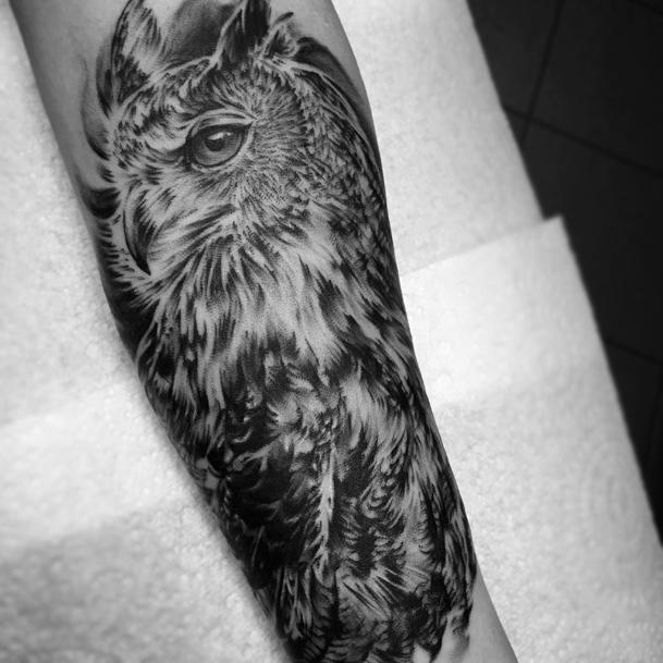 Great Horned Owl Black And Grey Tattoo Owl Tattoos Bla...