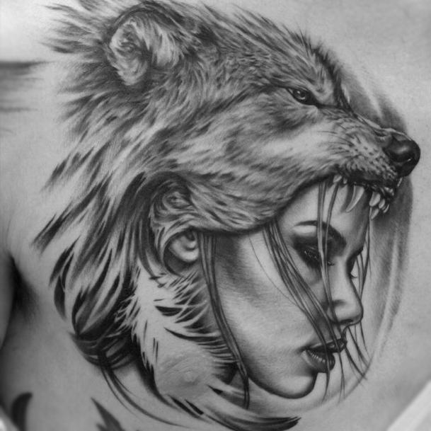 Wolf Headdress Tattoo: Iva Chavez